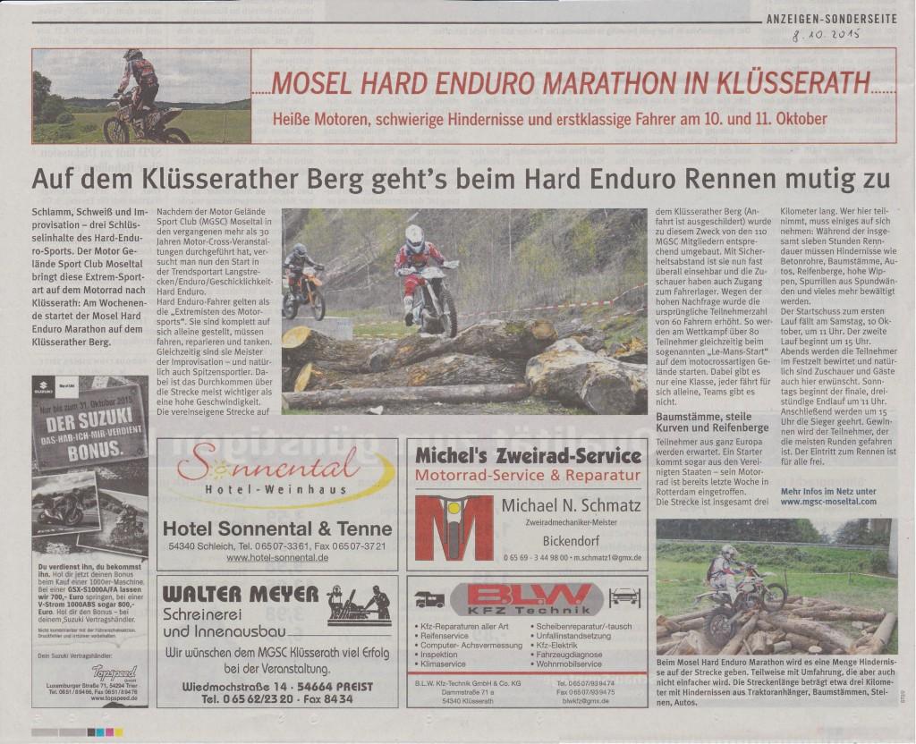 Zeitungsartikel Mosel Hard enduro